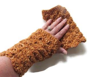 Crochet Pumpkin Fingerless Gloves - Rust Arm Warmers - Crochet Fingerless Mitts - Pumpkin Crocheted Wrist Warmers