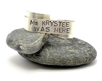 Personalized Double Ring - Sterling Silver Two Finger Ring - Hand Stamped Ring - Modern Graffiti