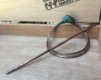 Hammered Copper and Turquoise Hair Clip, Barrette, Bun Holder, Hair Jewelry