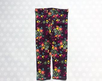 Leggings for Girls - Girls Floral Leggings - Floral Print Leggings - Dark Plum Leggings - Baby Girl Leggings - Baby Leggings - Plum Floral