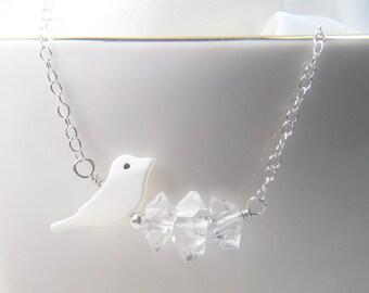 Shell Bird Necklace, Herkimer Necklace, Herkimer Diamond, Minimalized Necklace, White Necklace