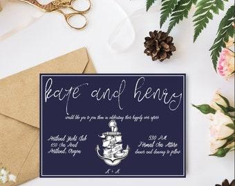 Navy Nautical Printable Wedding Invitation Suite