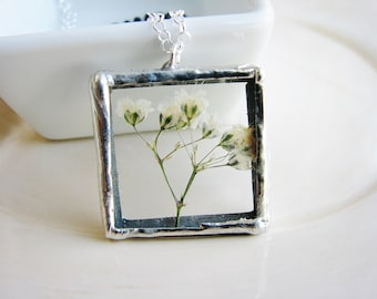 Baby's Breath Soldered Glass Necklace, White Flower Necklace, Framed Glass Pendant Necklace, Pressed Flowers Necklace, Soldered Jewelry