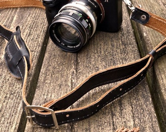 Camera strap - leather, black and natural leather