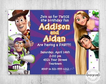 Toy Story and Tangled Birthday Invitation - Twins Siblings Double Birthday - Printable Digital File