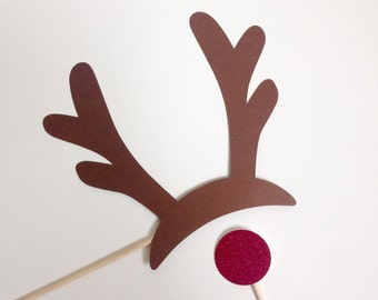 Rudolph the Reindeer Photo Booth Props. Rudolph Photo Booth Props . Reindeer Photo Booth Props . Rudolph . Antlers . Glitter . Set of 2