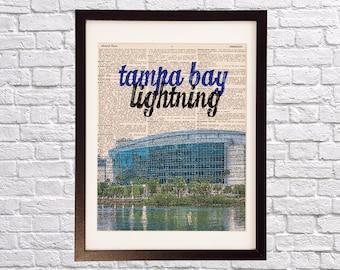 Tampa Bay Lightning Dictionary Art Print - Amalie Arena Art - Tampa Bay Florida Print - Print on Vintage Dictionary Paper - Hockey Art