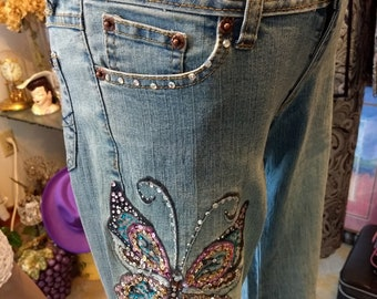 """90s Denim JEANS Bell Bottom Butterfly Sequin Embroidered """"Angels""""Rame/Cotton Stretch Jeweled Pockets Dance Party Sparkle-Hippie-Boho-UNIQUE"""