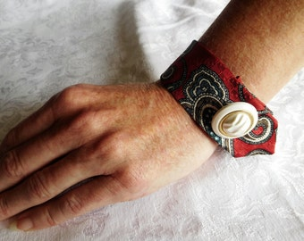 Red, White and Blue Silk Cuff Bracelet,  Tie cuff bracelet, Vintage Fabric Bracelets, Silk Ties Bracelets
