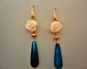 Gold and Blue Earrings with White Carved Rose Flower and Jade. Jade Earrings. Flower Earrings. Blue Earrings. Rose Earrings. White Earrings.