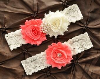 Wedding Garter Belt, Bridal Garter Set - Ivory Lace Garter, Keepsake Garter Toss Garter Shabby Chiffon Coral Ivory, You Design / Pick Colors