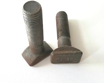 2 vintage railway bolts, metal art supply, rustic bolts