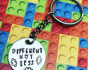 Different Not Less keychain // Autism Awareness keychain // autism puzzle