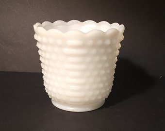 Vintage Fire King Oven Ware White Milk Glass Hobnail Vase Circa 1950s Made in USA