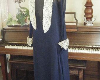 Vintage 1920's Blue Crepe & Lace DRESS 36-36-42 True Beauty Art Deco Flapper