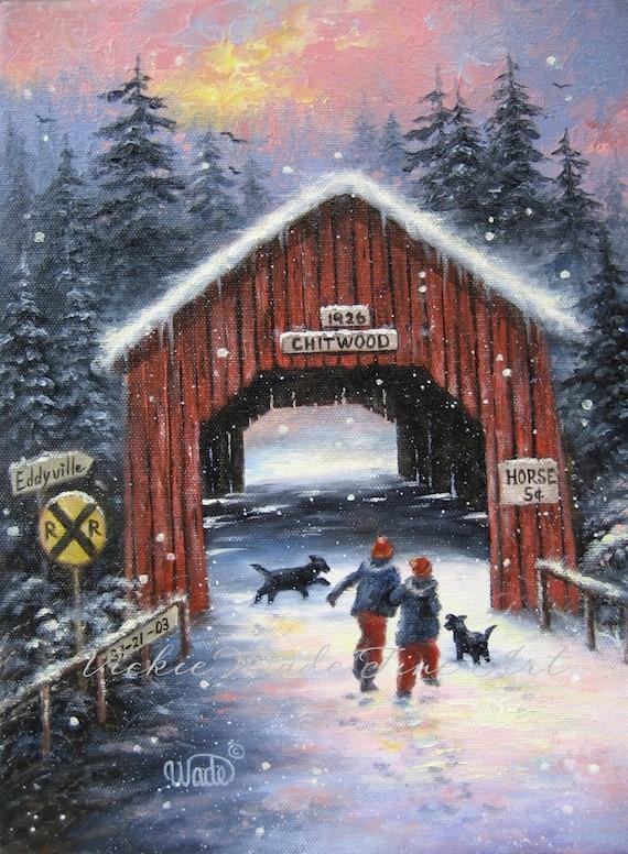 Snow Covered Bridge Art Print Snowscene Two Children Black
