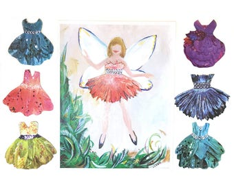 Fairy Paper Doll . Starter Set with Seven Dresses . Sparkling Party Dresses . Flower Dresses