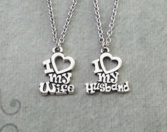 I Love My Husband Necklace SMALL Heart My Husband I Love My Wife Necklace Wife Jewelry Anniversary Jewelry Couples Jewelry Necklace Set