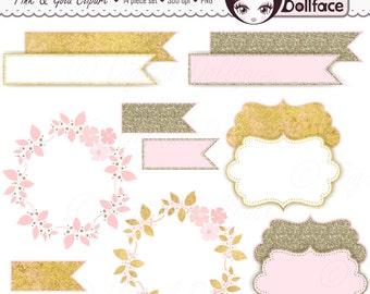 Wedding Clipart, Flower Frames, Digital Tags, Flags & Floral Wreath Clip Art