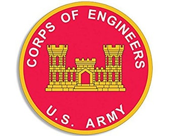 ROUND Army Corps of Engineers Seal Sticker (castle logo us)