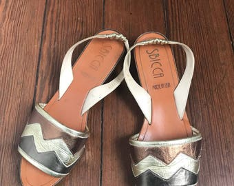 80's Sbicca Metallic Leather Sandals size 9 M