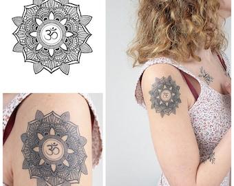 Mandala with OM - Temporary Tattoo / Mandala Tattoo / Geometric Tattoo / Indian Tattoo / Om Temporary Tattoo / Mandala Temporary Tattoo