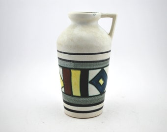 Fohr 423-15 White & Yellow, Red, Blue 50's style vase