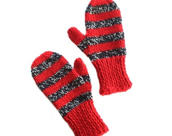 Children's Red & Black Stripe Knit Mittens, Child Size 4, Handmade by Knight Family Knits