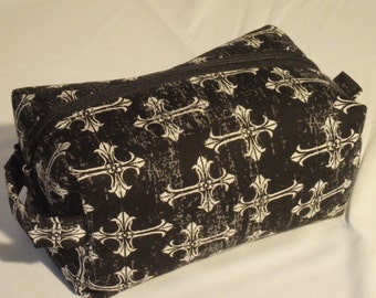 Gothic Cross Pouch, Steampunk Bag, Zip Pouch, Ditty Bag, Toiletry Kit, Cosmetics Case, Makeup Bag, Travel Case, Gifts for Her, Goth Gifts