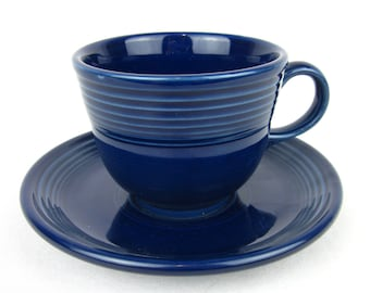 Vintage Fiesta Cup / Saucer Set, Cobalt Blue