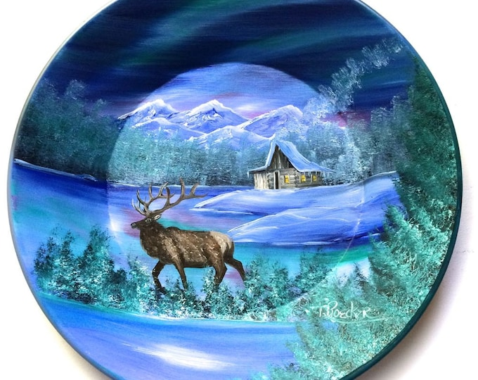 Hand Painted 11 Inch Gold Pans Mountain Blue Winter Elk Northern Lights