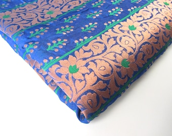 cobalt blue copper green flowers and branches India silk brocade fabric nr 154 fat quarter