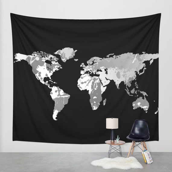 Dark monochromatic world map wall tapestry wall hanging dark monochromatic world map wall tapestry wall hanging world map decor home decor world map art map of the world black white decor gumiabroncs Image collections