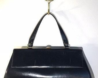 Vintage Lona Navy Blue Leather Handbag with Brass Closure