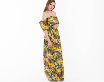 Women Sundress Floral butterflies flowers Cotton Casual Dress Sleeveless Summer Frill bare shoulders colorful Eco Street Fashion SVETARKIN