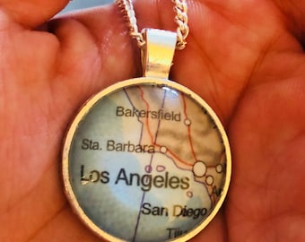 Travel Map Pendant - Los Angeles