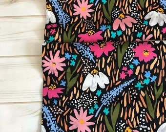 Midnight Garden Black ~ Gather Collection by Juliet Meeks for Cloud9 Fabrics 100% Organic Cotton