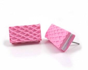 Pink Waffle Cookie Stud Earrings w/ Stainless Steel Posts - Kawaii Jewelry - Chocolate Waffle Cookie Earrings - Miniature Food Jewelry
