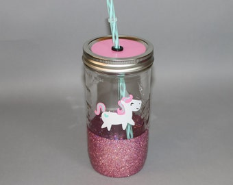 Unicorn glitter cup // mason jar tumbler // glitter tumbler // funny tumbler // glitter dipped mason jar // consultant / unicorn cup