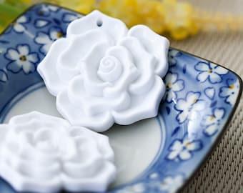 Large Vintage Pendant White Carved Lucite Flower Bead 45mm