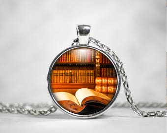 Book Necklace - Book Pendant - Literary Gift - Antique Book - Bookworm Gift - Book Lover Gift - Book Jewelry - LIbrarian Gift - Teacher Gift