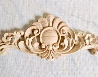 Flower wood applique, furniture applique, wood onlay, furniture decoration, wood embellishment, wood carving, furniture onlay