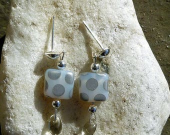 Grey glass beads with silver dots earrings