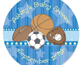 24 All Star Sports Circle Stickers - Personalized Baby Shower or Birthday Party DIY Craft Supplies