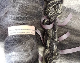 Narnia Art Yarn / Handspun / 2 The Lamppost / Grey / Silver / Cream / Steel Grey / White / Single Ply / 110g / Knitting / Crochet Wabisabi