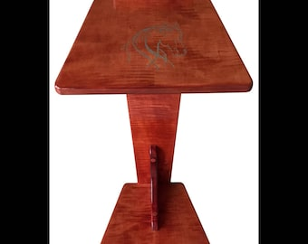 Perching Table - Curly Maple with hand carved horse inlayed with Turquoise