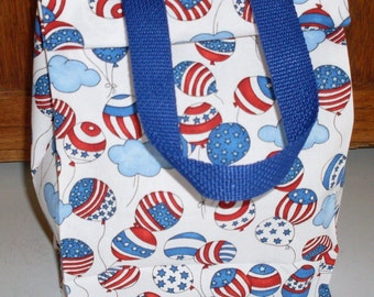 EcoFriendly American Flag USA Patriotic Fabric Lunch Sack or  Gift Wrap Bag