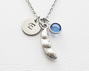 Peas In A Pod Necklace, Three Peas, Pea, Mother's Day, Silver Jewelry, Swarovski Birthstone, Personalized Monogram, Hand Stamped Initial