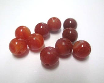 striped agate beads 10 shades of orange 8mm