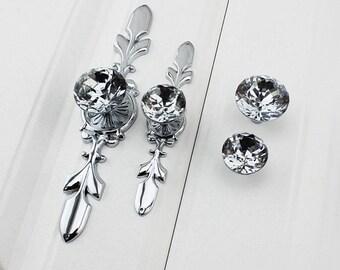 Drawer Pulls Crystal Pulls Handle Glass Dresser Knob Pull Silver Chrome Clear Crystal Decorative Pulls Drawer